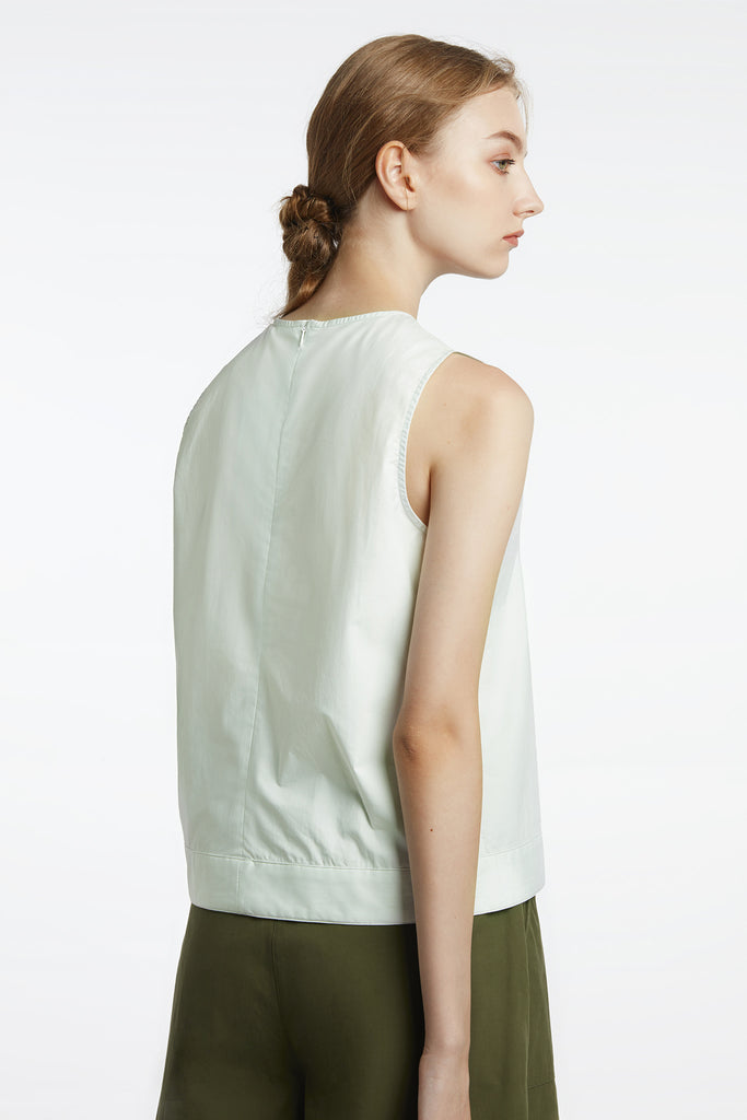 Mint Boxy Poplin Top With Hem Detail