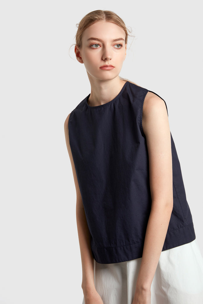 Midnight Blue Boxy Poplin Top With Hem Detail