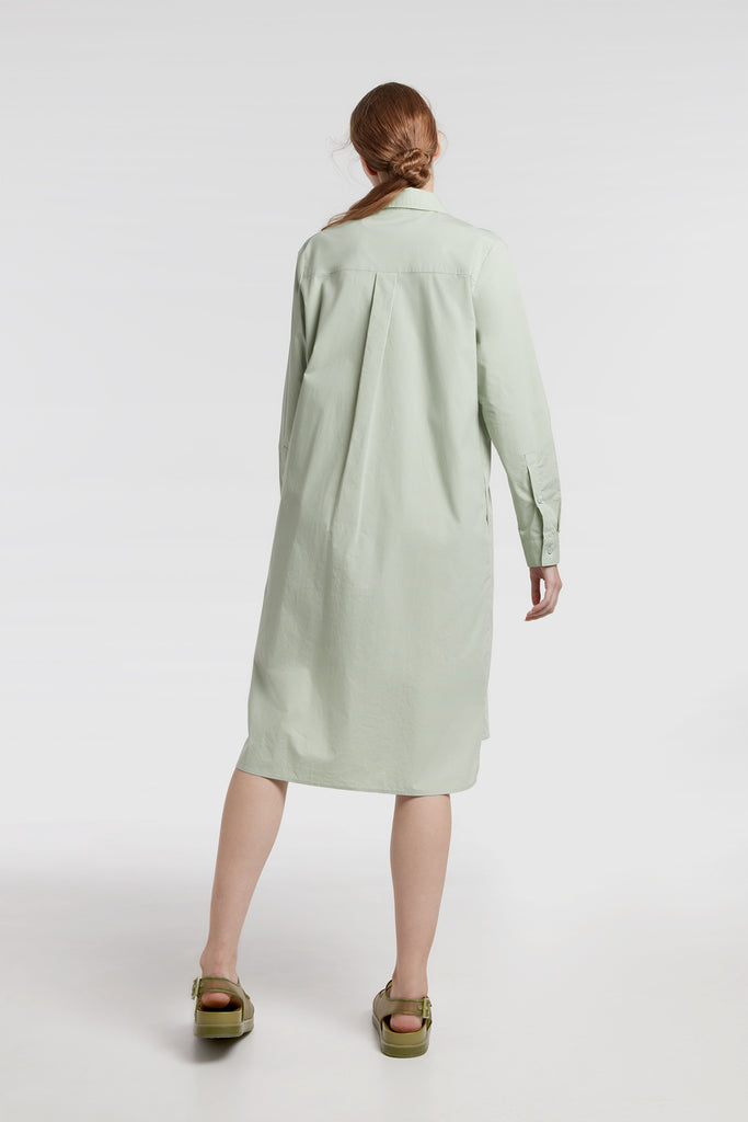Pistachio Patch-Pocket Cotton Shirt Dress
