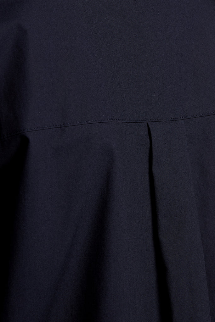 Midnight Blue Patch-Pocket Cotton Shirt Dress