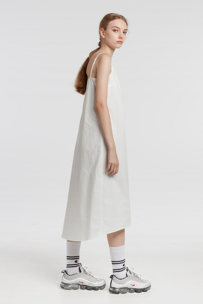 White Strap Dress With Hem Detail