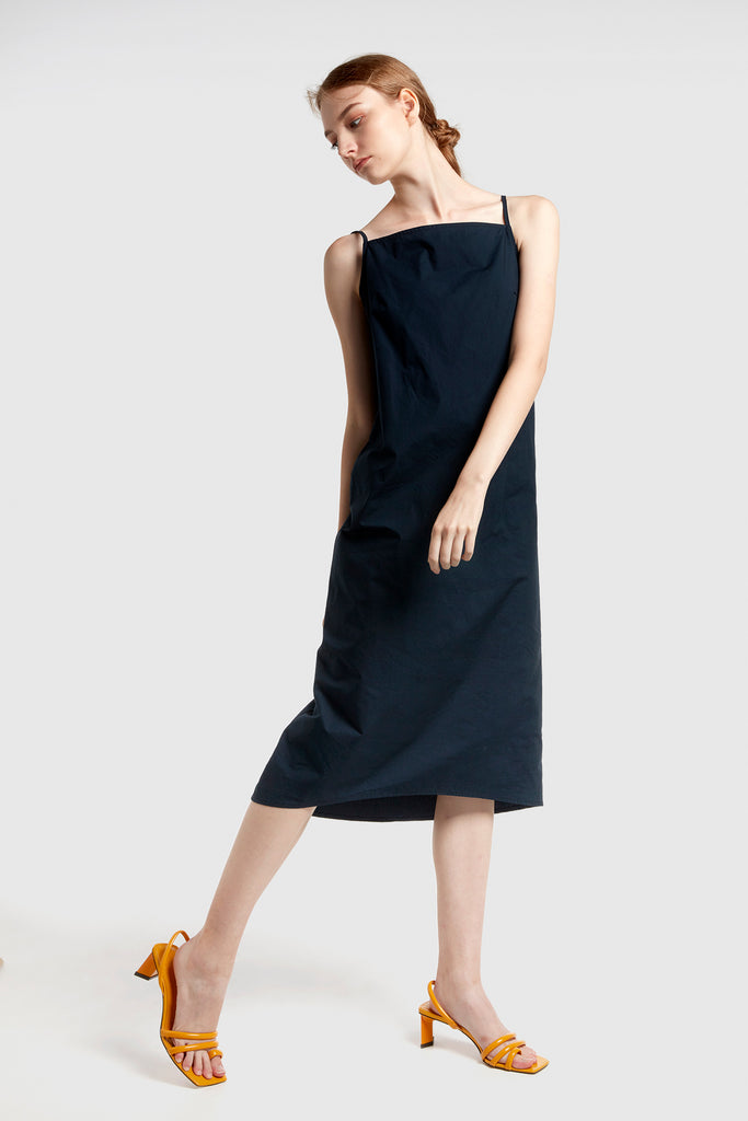 Navy Blue Strap Dress With Hem Detail
