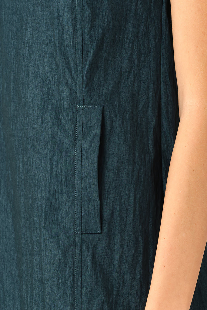 Dark Teal Panelled Sleeveless Dress