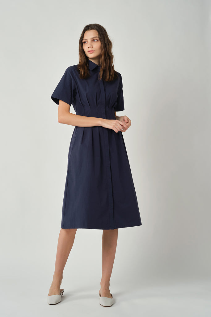 Navy Dress With Pleated Waist