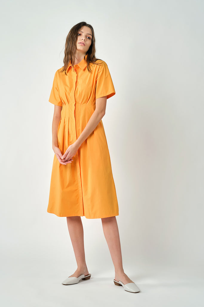 Orange Dress With Pleated Waist