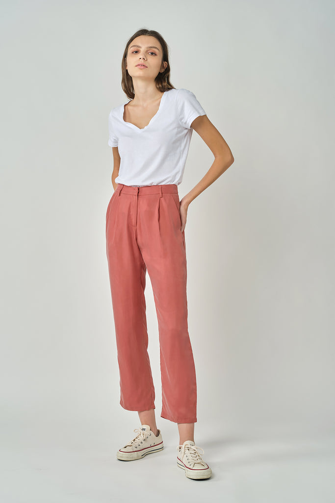 Brick Tapered Cupro Trousers