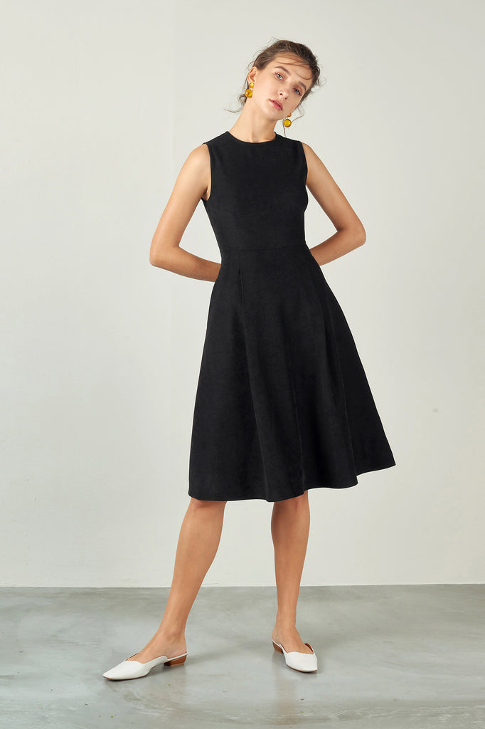 Black Lyocell Shaped A-Line Dress