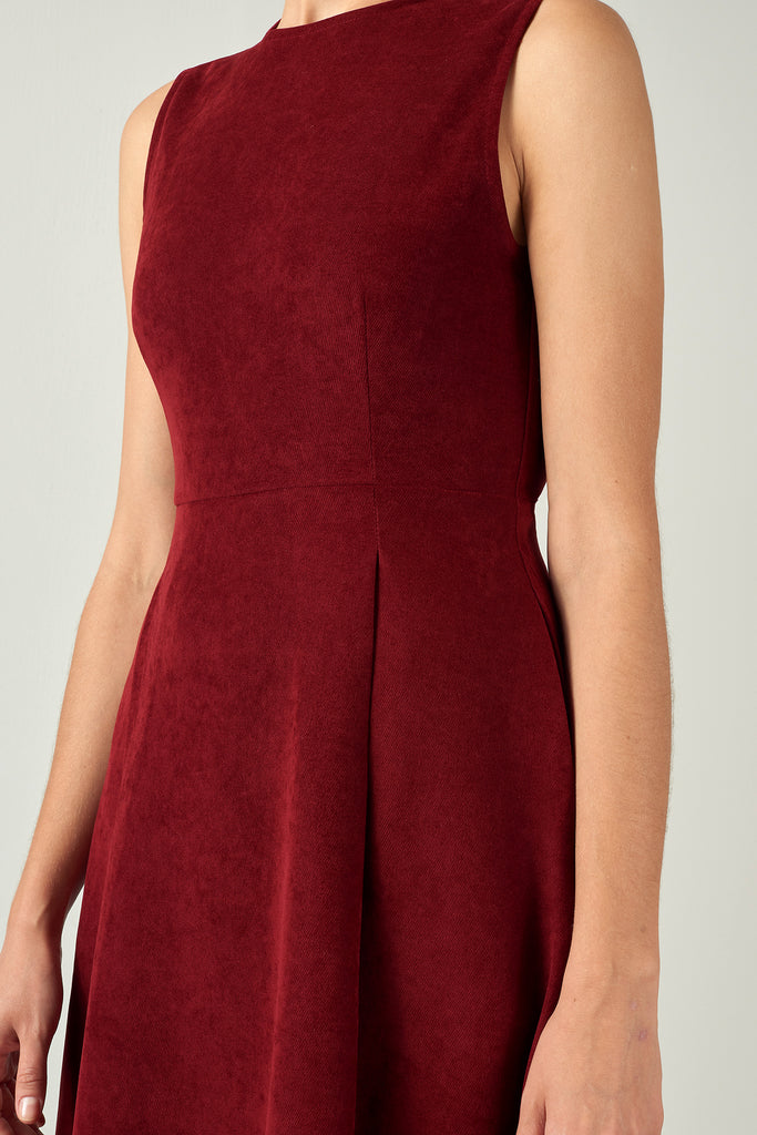 Bordeaux Lyocell Shaped A-Line Dress