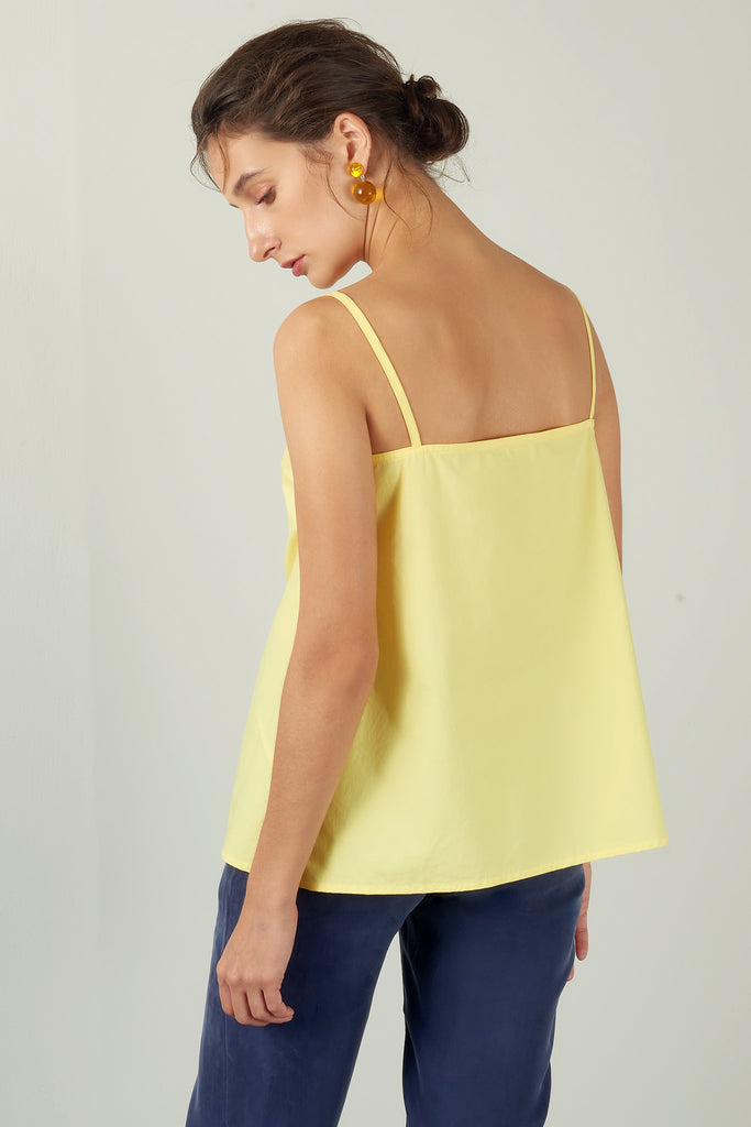 Yellow Bias-Cut Strap Top