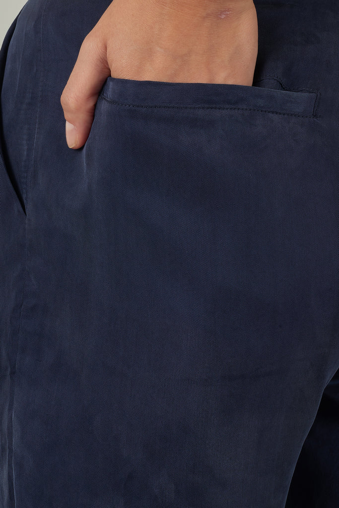 Steel Blue Tapered Cupro Trousers