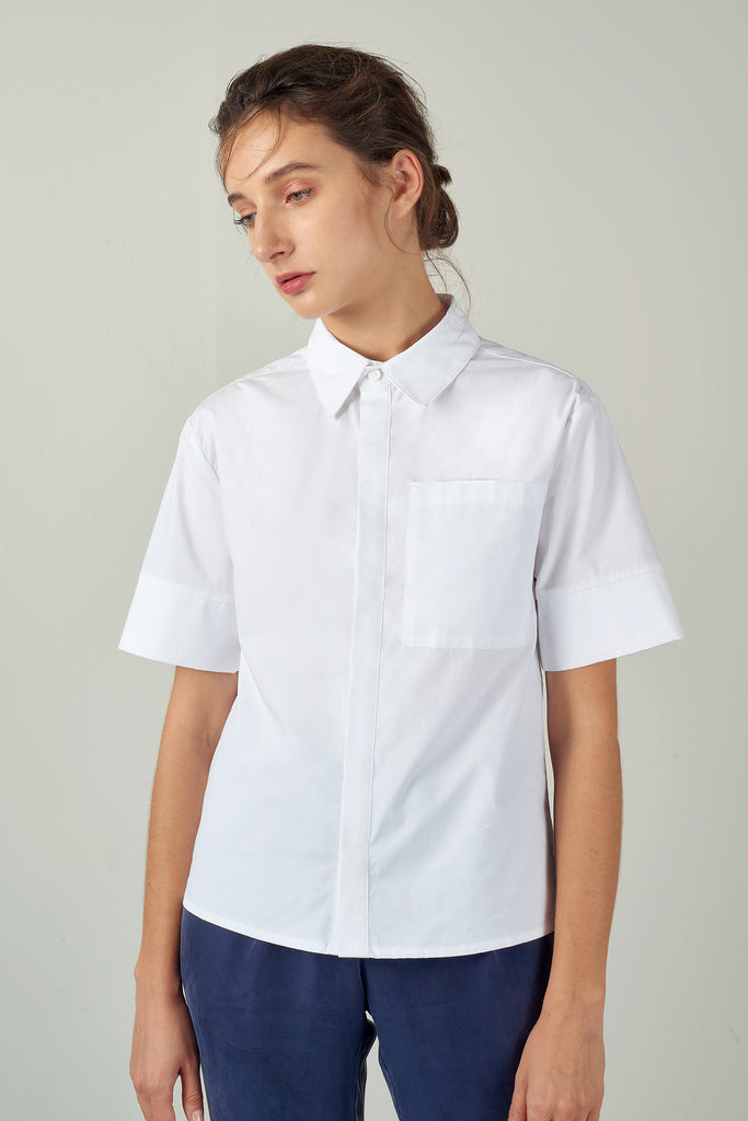 White Cropped Cotton Poplin Shirt