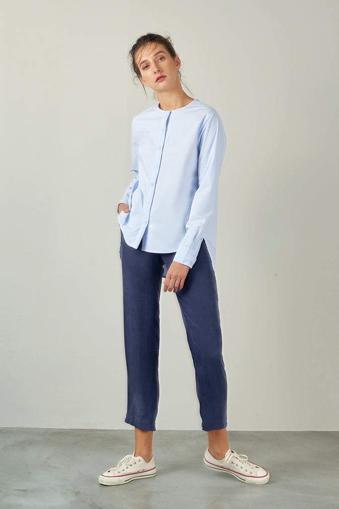 Sky Blue Collarless Poplin Shirt
