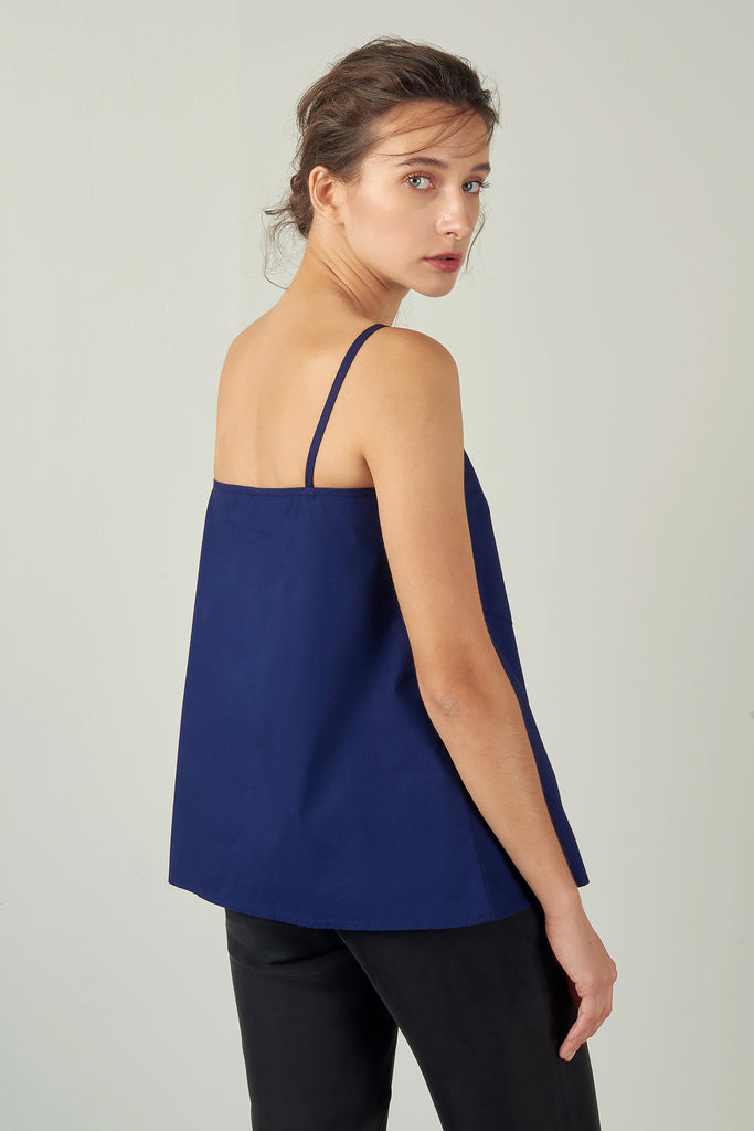 Navy Bias-Cut Strap Top
