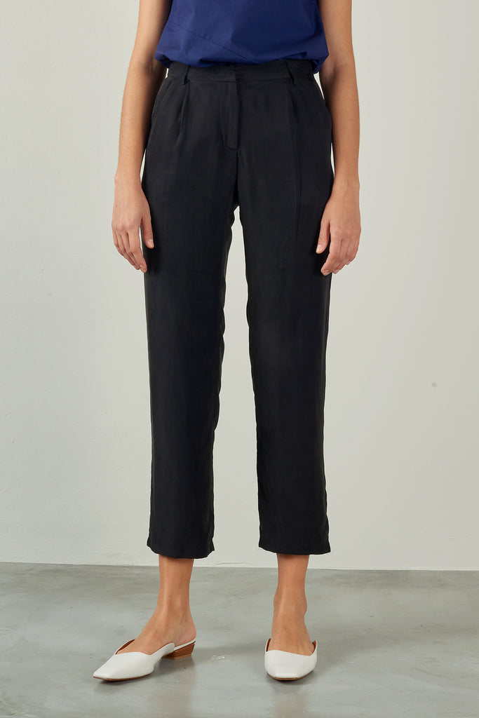 Black Tapered Cupro Trousers