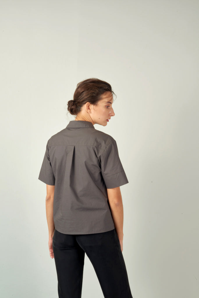 Charcoal Cropped Cotton Poplin Shirt
