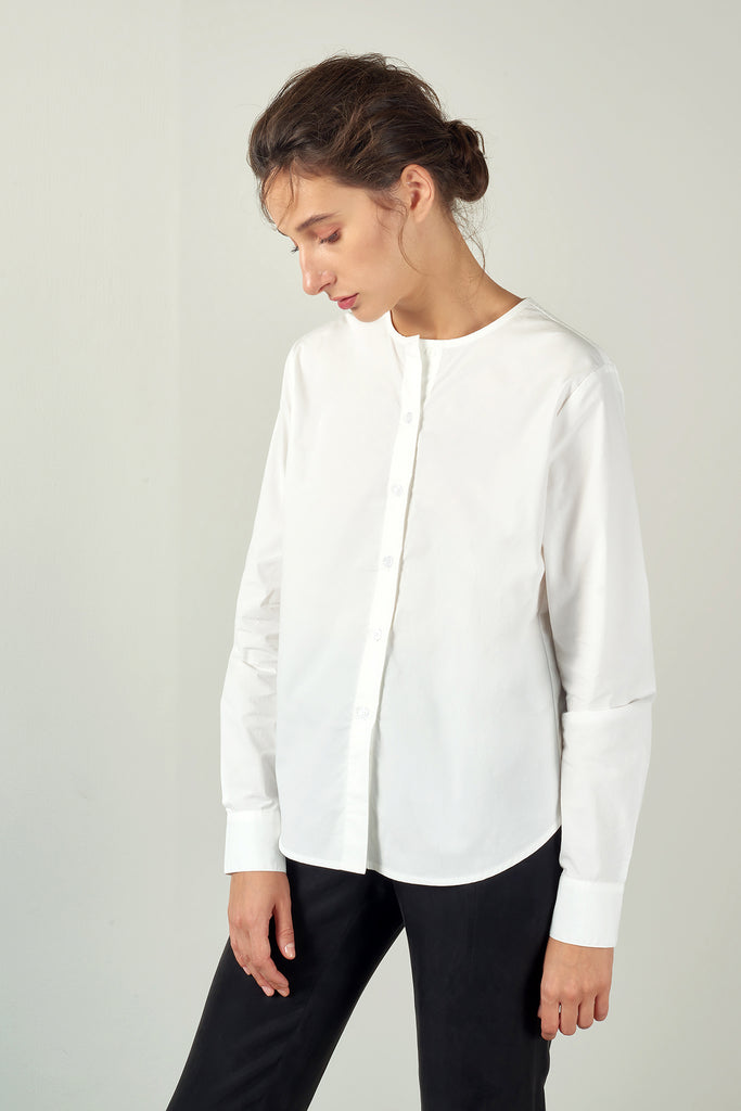 White Collarless Poplin Shirt