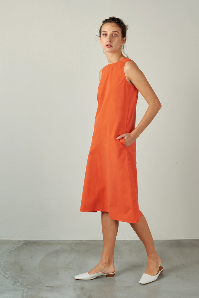 Warm Red A-Line Dress with Seam Detail