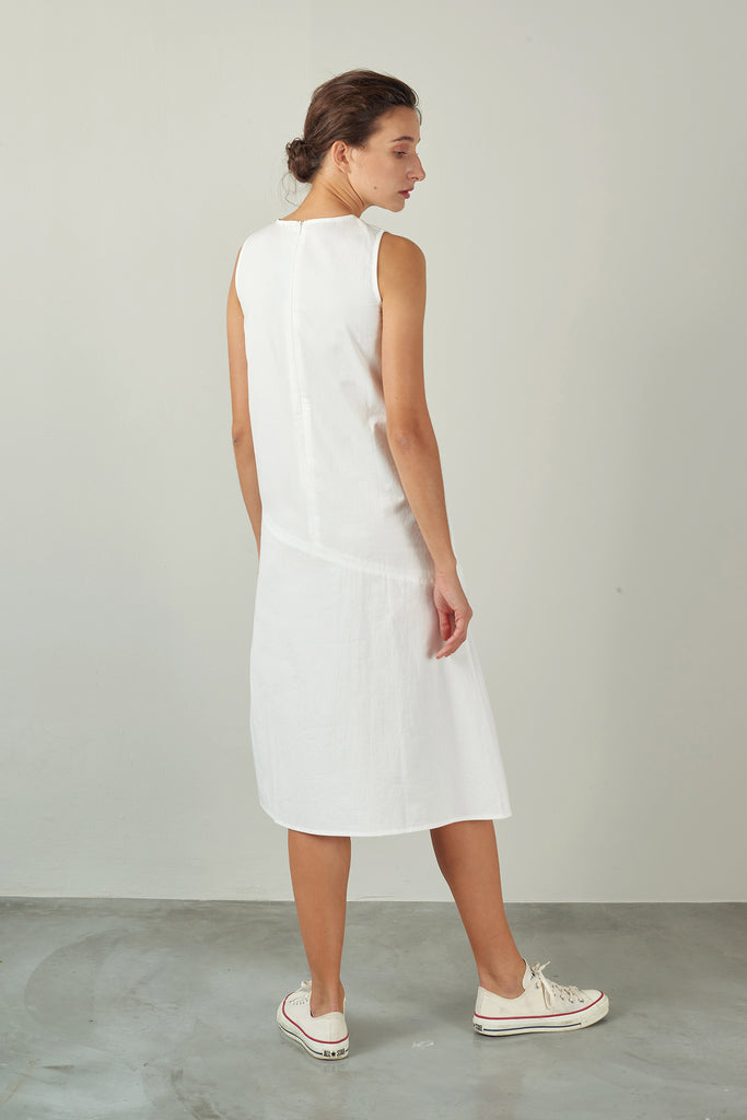 White A-Line Dress with Seam Detail