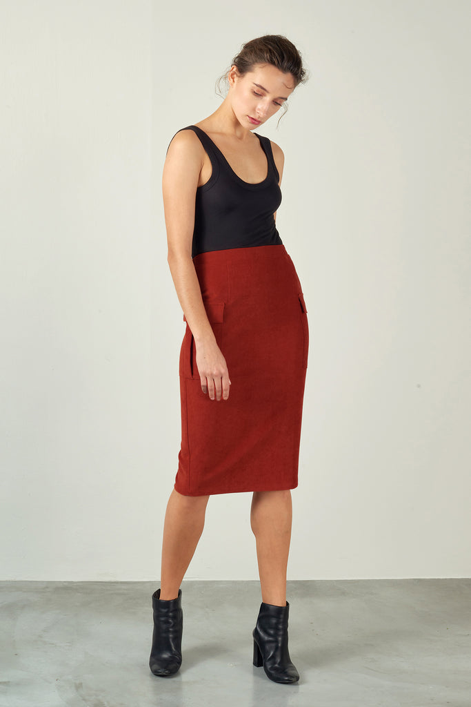 Rust Red Lyocell Patch-Pocket Skirt