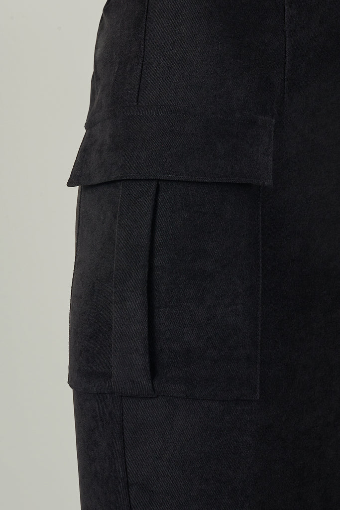 Black Lyocell Patch-Pocket Skirt