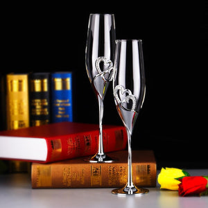 2 Piece Wedding Crystal Glass Flute Set