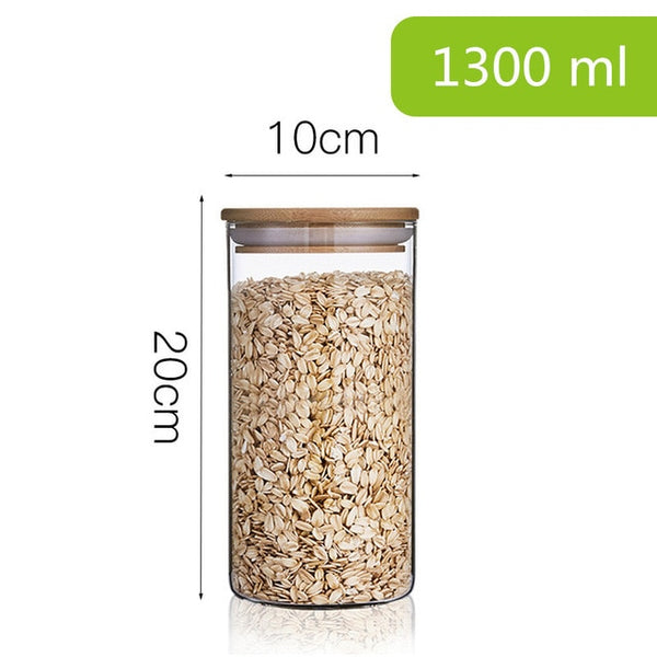 Glass Kitchen Cannisters with Bamboo Lid - Save 20%!