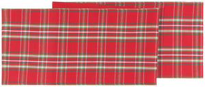 Christmas Noel Plaid Runner - Chinese Red