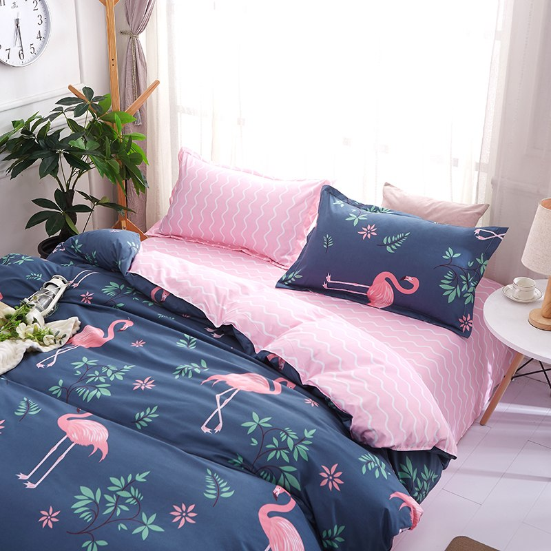 Reversible Blue and Pink Flamingo Duvet Cover Set
