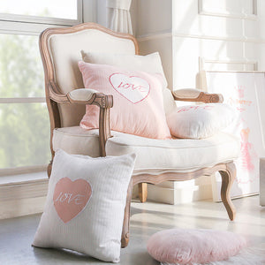 "Pink & White ""Love"" Throw Pillow"