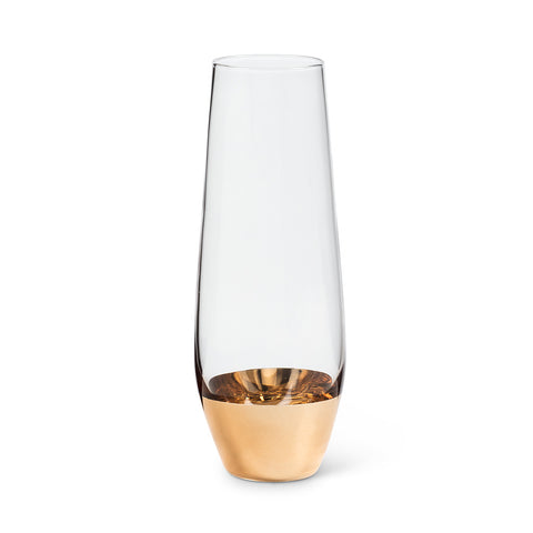 Set of 4 - Stemless Flute with Wide Gold Band Detail