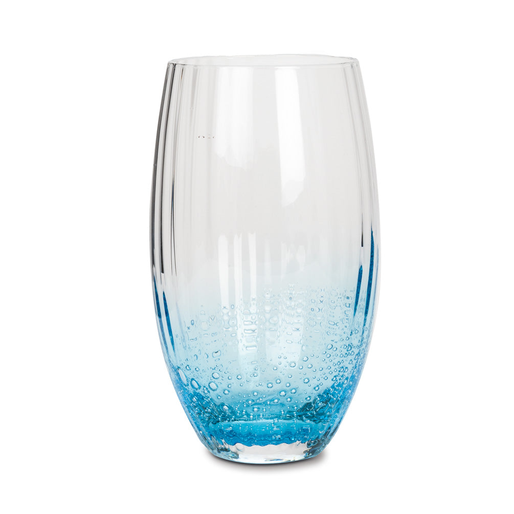 Set of 4 - Ombre Blue High Ball Glasses with Bubble Accent
