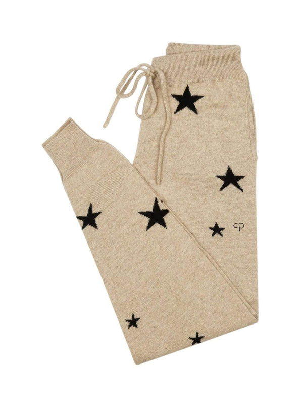 Chinti & Parker Loungewear Oatmeal Star Cashmere Track Pants