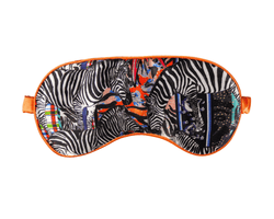 Jessica Russell Flint Eye Mask Check Zebra Silk Eye mask