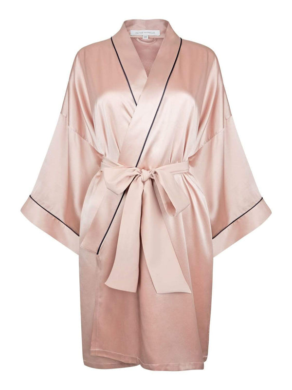 Olivia von Halle Dressing Gown One Size Mimi Blush Pink Silk Robe