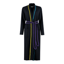 Sleep Siren Dressing Gown Navy Piped Wool-Cashmere Dressing Gown