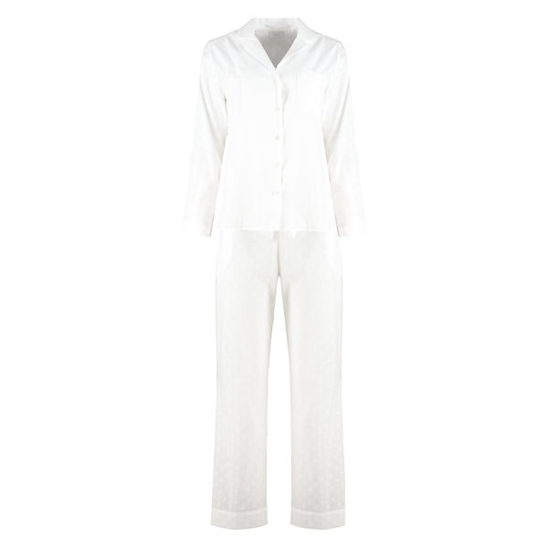Yolke Pyjama Set White Jacquard Cotton Pyjama Set