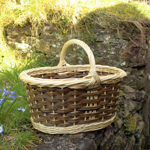 Shopping Basket -peeled white & natural willows