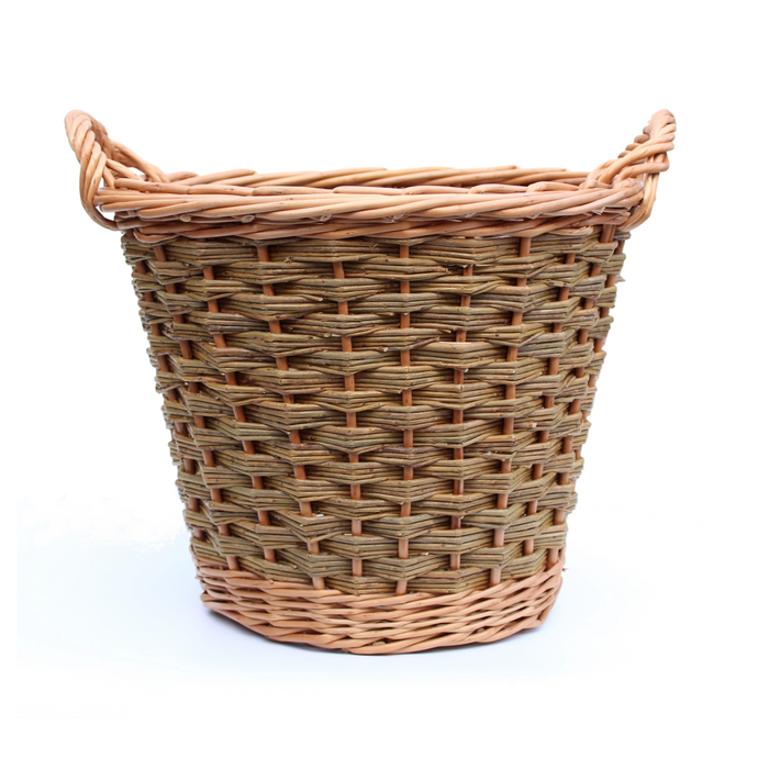 Round Log Basket - Buff & Natural Brown Willows (Slewed weave)