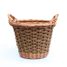 Load image into Gallery viewer, Round Log Basket - Buff & Natural Brown Willows (Slewed weave)