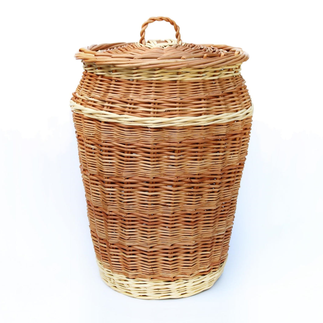 Linen Basket 'Alibaba' In Peeled Buff & White Willows