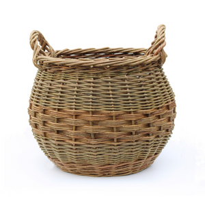 Curved Log Basket - Natural Green & Brown willows