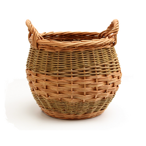 Curved Log Basket - Buff & Natural Brown Willows