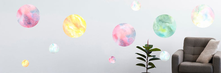 Watercolor Planet Wall Decals