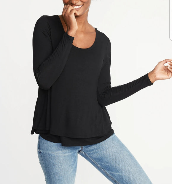 Blusa lac negra manga larga old navy