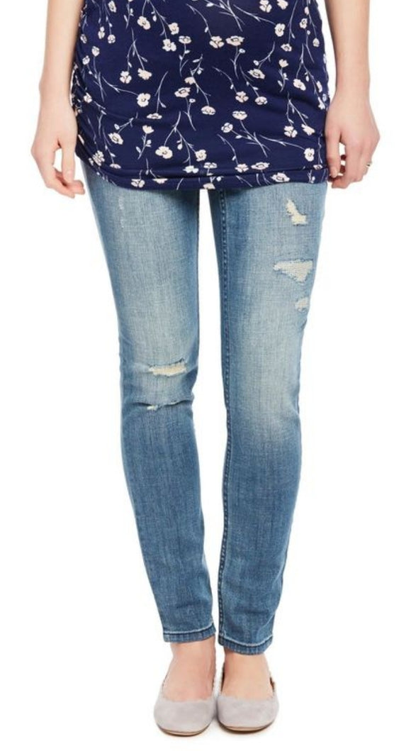 Jeans indigo blue Skinny destructed S