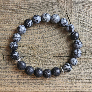 Snowflake Obsidian Aromatherapy Essential Oil Diffuser Bracelet (10mm beads)