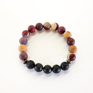Mookaite (Matte) Aromatherapy Essential Oil Diffuser Bracelet 10mm beads)
