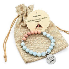Teacher Silver Charm Amazonite & Rosewood Aromatherapy Essential Oil Diffuser Bracelet (8mm beads)