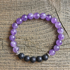 Amethyst Aromatherapy Essential Oil Diffuser Bracelet (8mm beads)