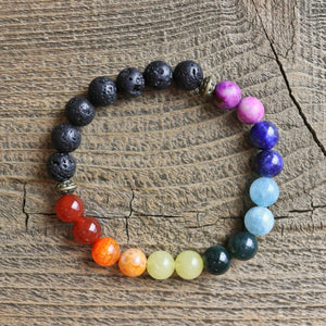 Double Chakra Aromatherapy Essential Oil Diffuser Bracelet (8mm beads)